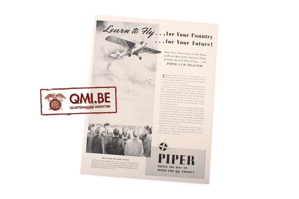 "Orig. WW2 ad. ""Piper, Learn to Fly …for your Country …for your Future!"""
