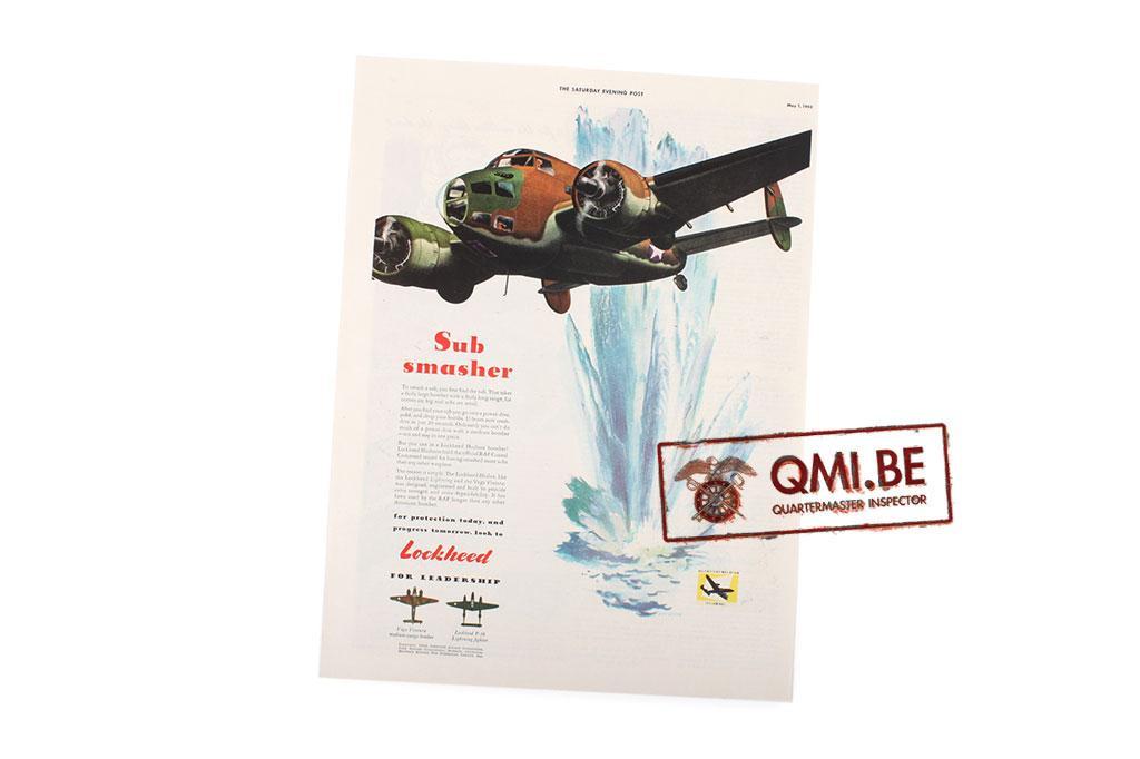 "Orig. WW2 ad. ""Lockheed, Sub Smasher (May 1, 1943)"""