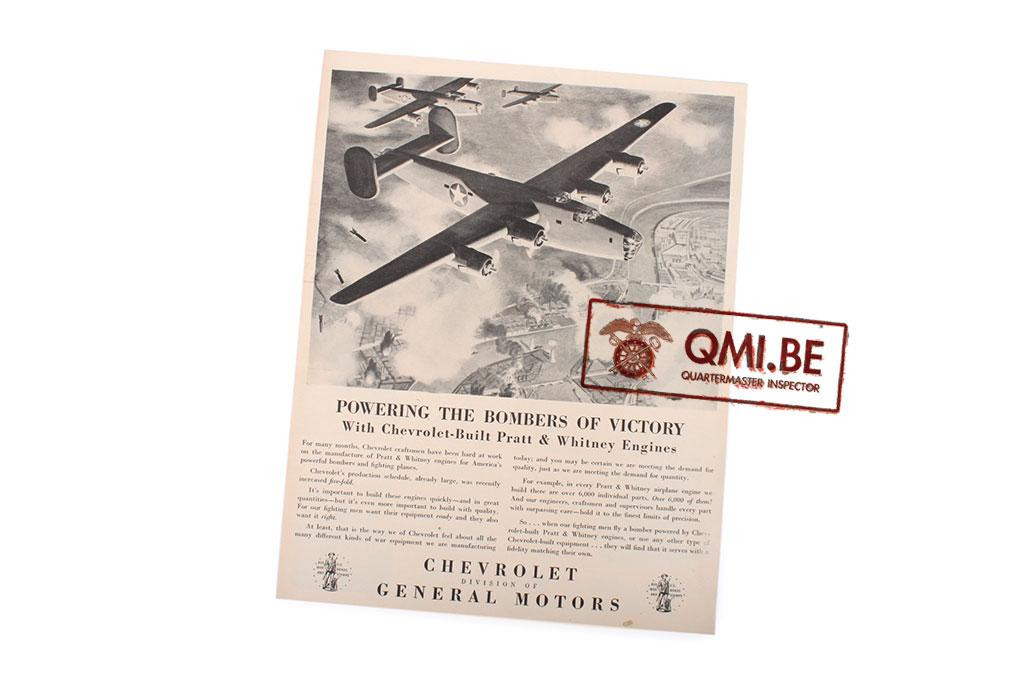 "Orig. WW2 ad. ""Chevrolet, Powering the Bombers of Victory"""