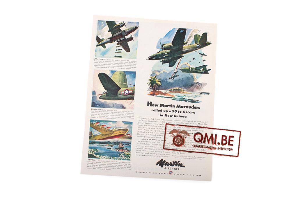"""Orig. WW2 ad. """"Martin Aircraft, New Guinea"""""""