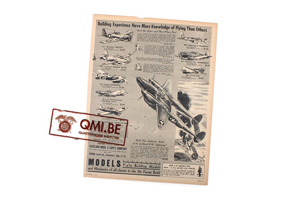 """Orig. WW2 ad. """"Cleveland Models, Building Experience…"""""""