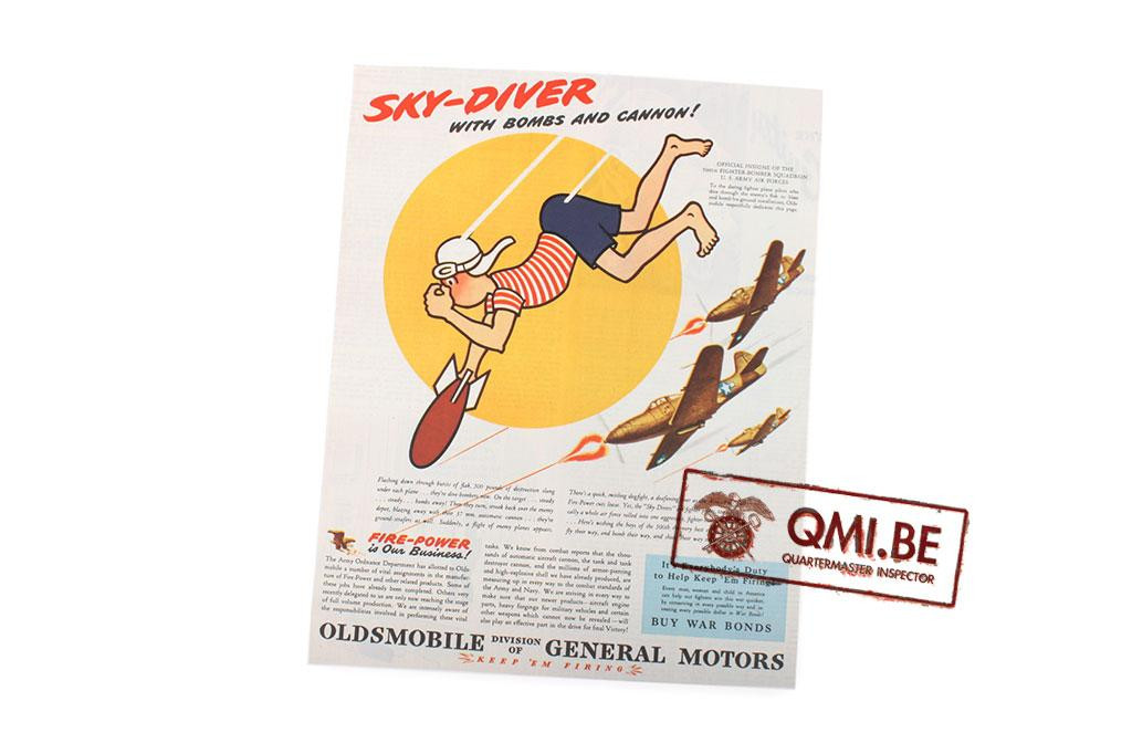 """Orig. WW2 ad. """"Oldsmobile, Sky-Diver with bombs and Cannon!"""""""