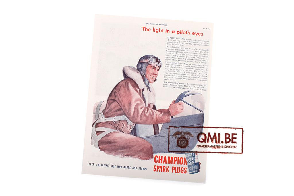 """Orig. WW2 ad. """"Champion Spark Plugs, The Light in a Pilot's Eyes"""""""