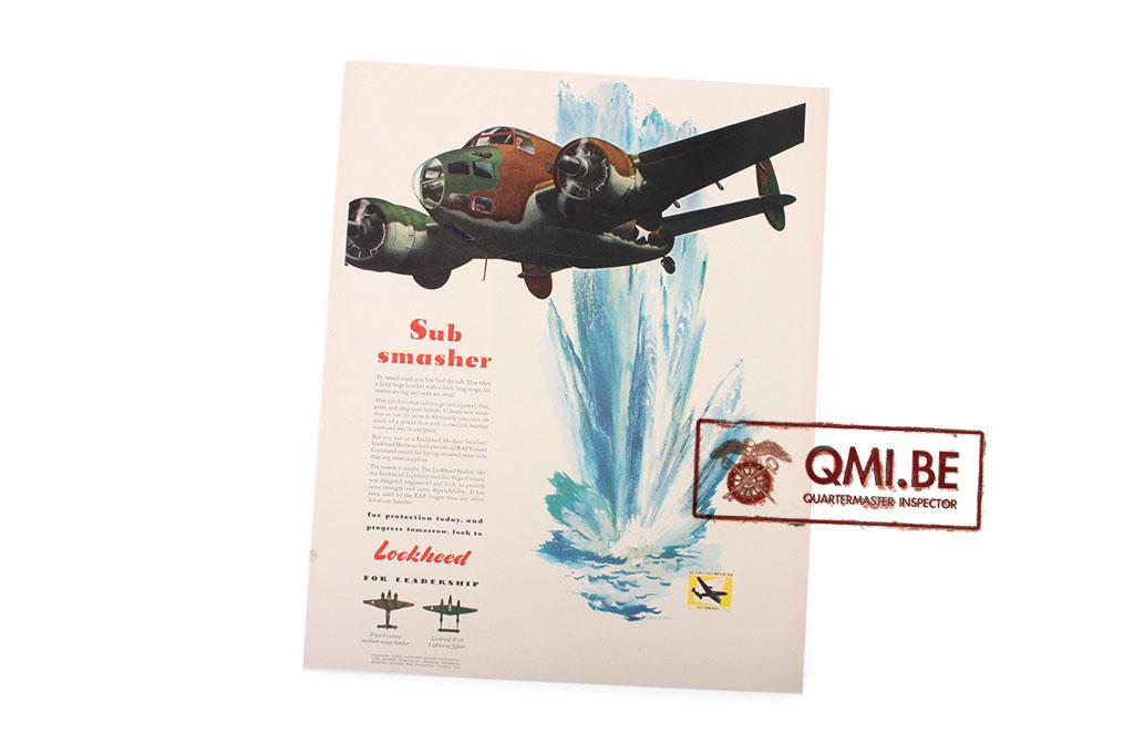 "Orig. WW2 ad. ""Lockheed, Sub Smasher"""