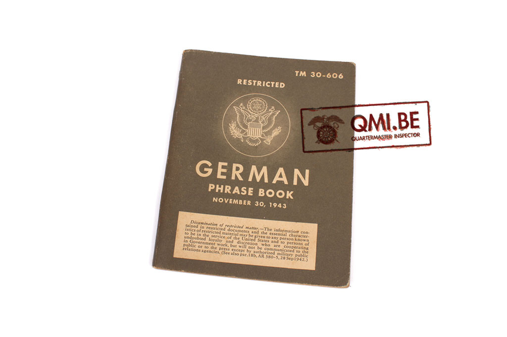 Original US WW2, German Phrase Book, November 30, 1943