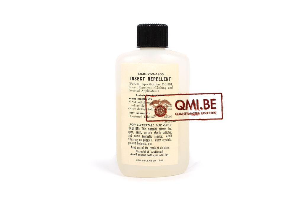 Bottle Insect repellent, Dec. 1966 (Bug Juice) (mint / NOS)