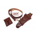 Leather garrison belt, M1912 Cavalry Holster, Magazine Pouch (Set)
