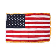 Flag, U.S. 50 stars, embroidered, Gold fringe border