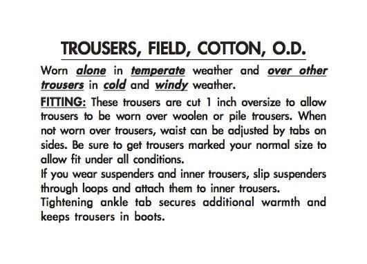 M-1943 Trousers Label