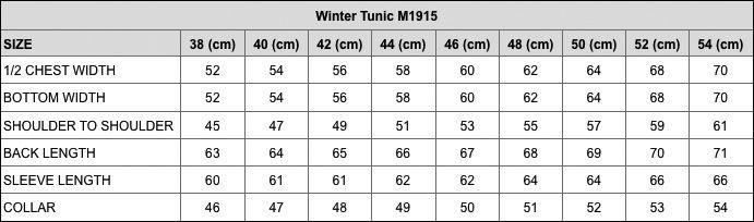 M1915 Winter Tunic size table EN